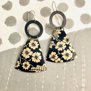 Midnight Blue & Ecru Tiny Flowers Small Fans Tin Earrings