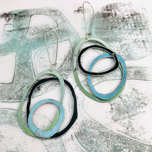 Pale Green, Forest & Sky Scribbles Upcycled Tin Earrings