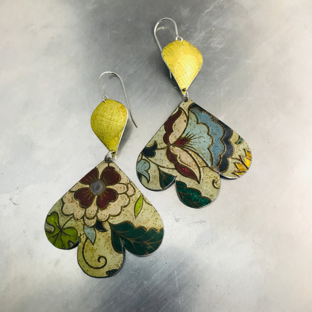 Gold & Vintage Flowers Trefoil Upcyled Tin Earrings