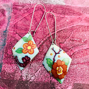 Orange Blossoms Diamonds Upcycled Tin Earrings