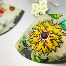 Load image into Gallery viewer, Vintage Flowery Fans Upcycled Tin Earrings