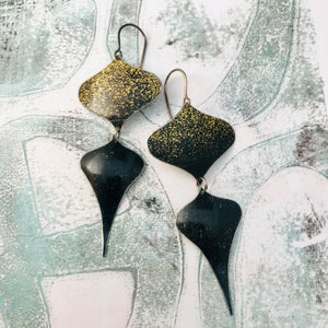 Black Speckled Gold Rex Ray Zero Waste Tin Earrings