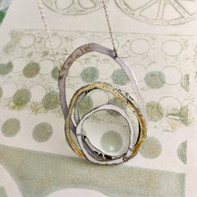 Load image into Gallery viewer, Mixed White Scribbles Upcycled Tin Necklace