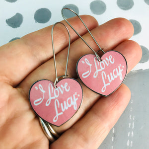 I Love Lucy Hearts Upcycled Tin Earrings