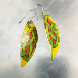Celtic Knot Upcycled Tin Leaf Earrings