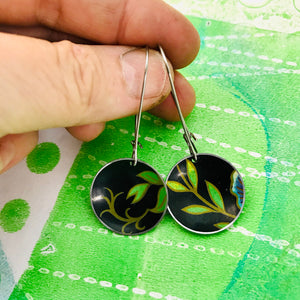 Bright Green Leaves on Midnight Medium Basin Upcycled Earrings