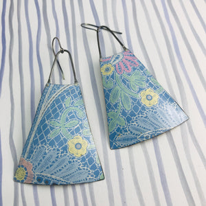 White Lace Over True Blue Upcycled Vintage Tin Earrings