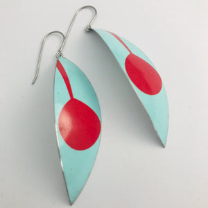 Mod Aqua & Red Leaves Upcycled Tin Earrings