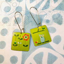 Load image into Gallery viewer, Owl & Flowers on Green Square Earrings