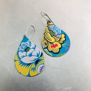 Stylized Flowers on Bright Blue Upcycled Teardrop Tin Earrings