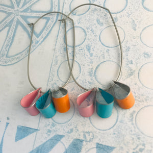 Persimmon, Aqua & Pink Multi U Hoop Upcycled Tin Earrings