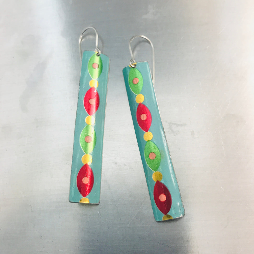 Shimmery Garland in Aqua Narrow Rectangle Tin Earrings