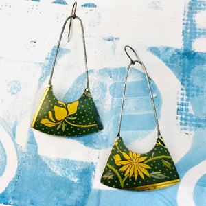 Yellow Blossoms on Polka Dots Recycled Tin Earrings