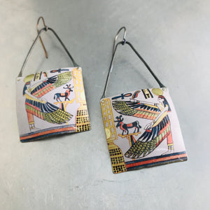 Egyptian Goddess Isis Square Tin Zero Waste Earrings by adaptive reuse  jewelry