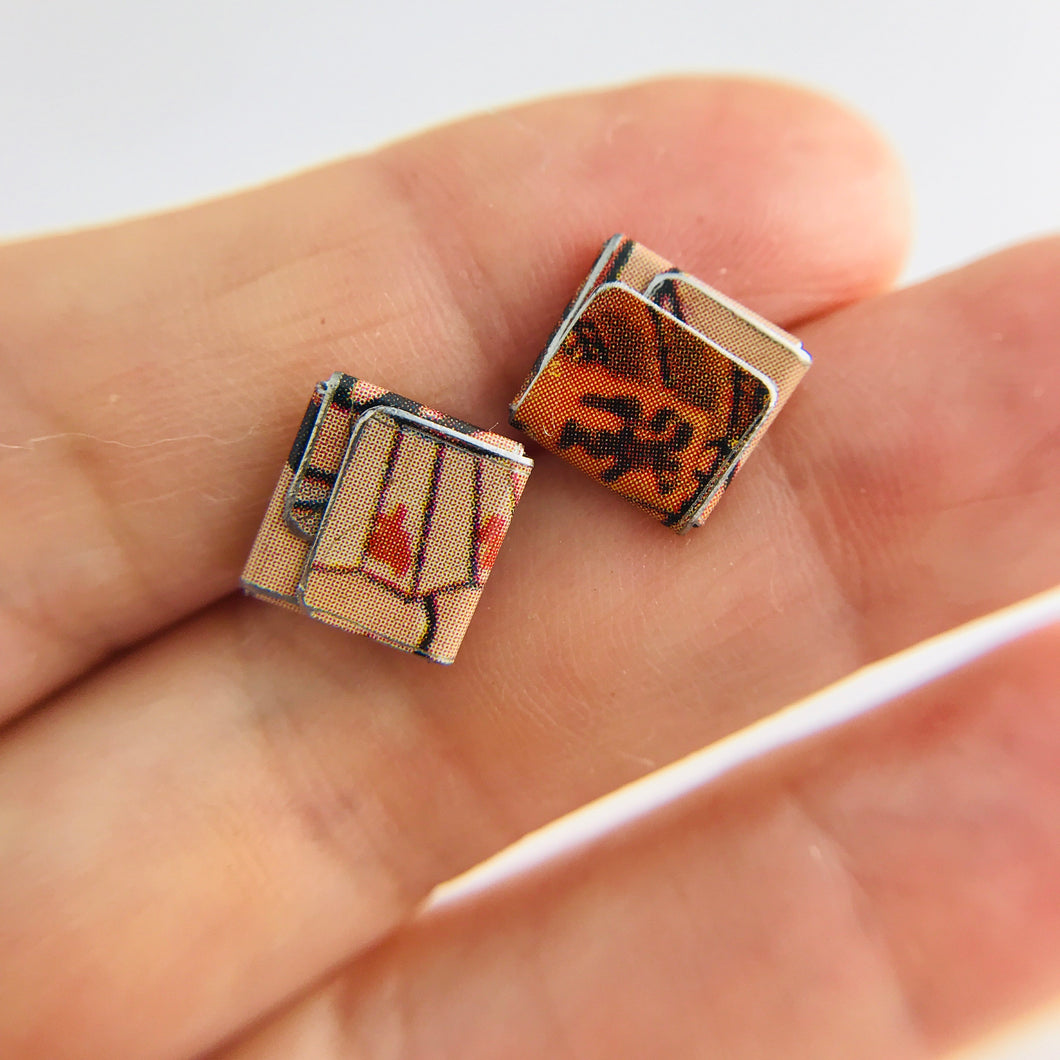 Japanese Kanji Folded Square Upcycled Tin Post Earrings