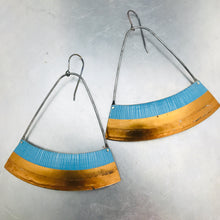 Load image into Gallery viewer, Etched Sky & Copper Wide Arc Recycled Tin Earrings Tin Anniversary Gift