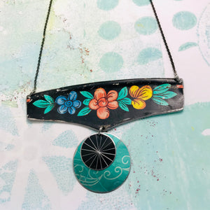 Flowery Edge on Black Wide Arc Zero Waste Necklace