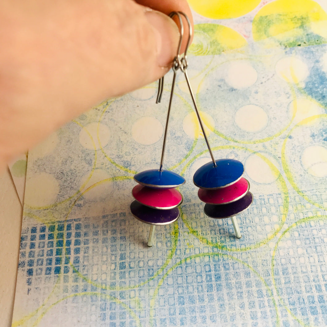 Cobalt, Fuschia, & Royal Purple Upcycled Tin Saucer Earrings
