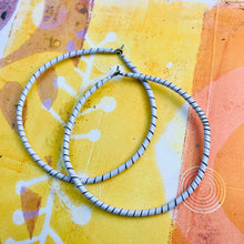 Load image into Gallery viewer, Spiraled Tin Big White Hoop Earrings