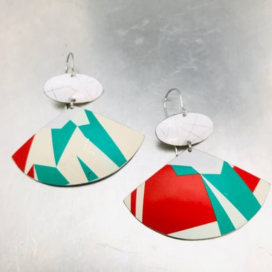 Geometric Line Pattern Fans Upcycled Tin Fan Post Earrings