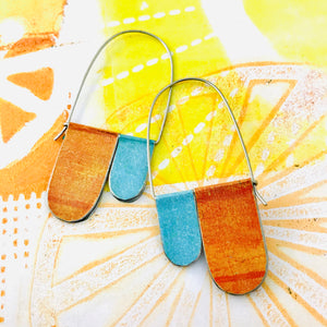 Aqua & Dreamsicle Arch Dangle Tin Earrings