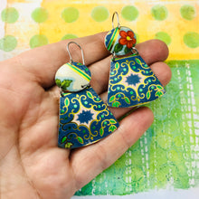 Load image into Gallery viewer, Vintage Green & Blue Small Fans Zero Waste Tin Earrings