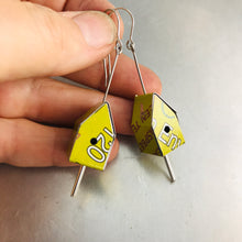 Load image into Gallery viewer, Spring Green & Typography Tiny Tin Birdhouse Earrings
