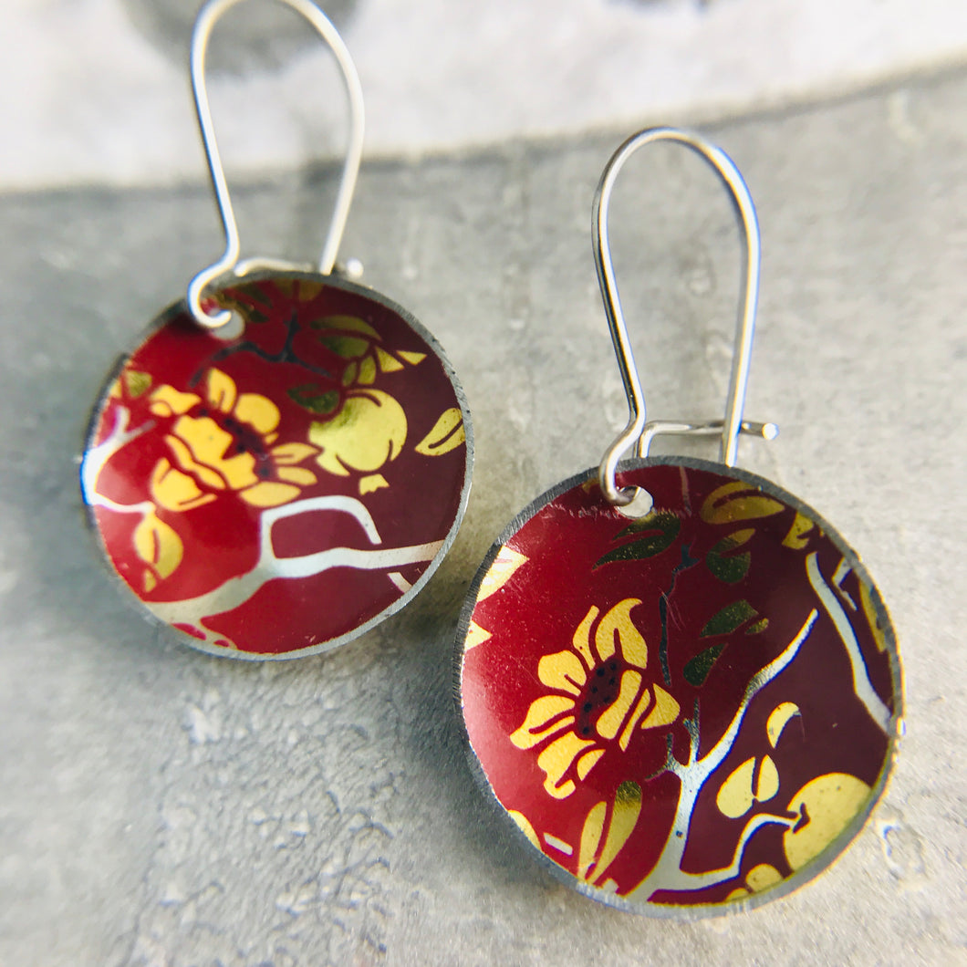 Pomegranate Blossoms Upcycled Tiny Dot Earrings