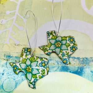 Lots of Blue Flowers Texas Upcycled Tin Earrings