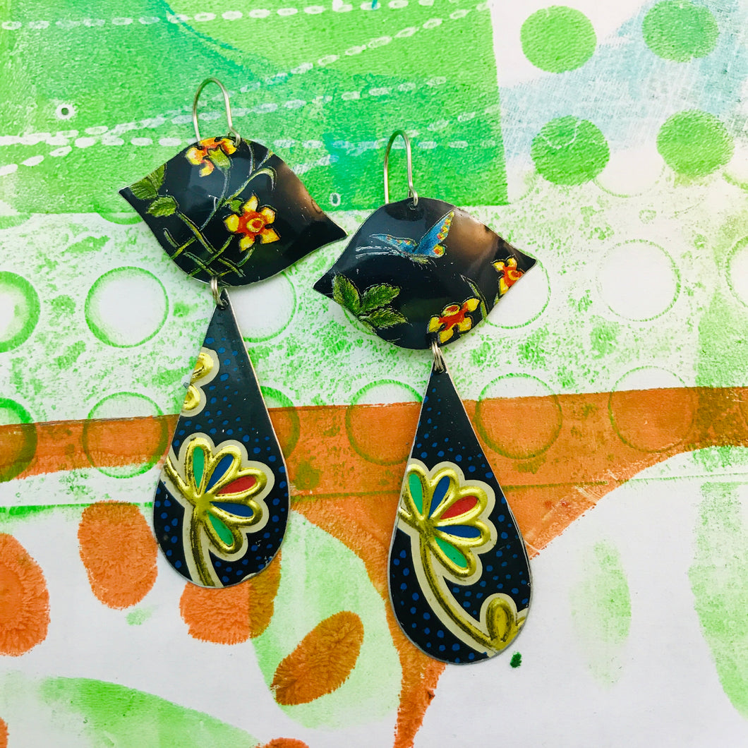 Mixed Flower Patterns Ogee Zero Waste Tin Earrings
