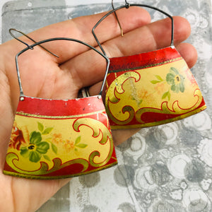 Vintage Scarlet Edge Large Zero Waste Tin Earrings