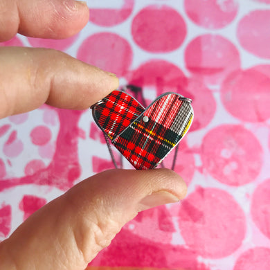 Stewart Dress Tartan Tin Heart Recycled Necklace