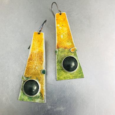 Rustic Orange and Green Zero Waste Tin Earrings