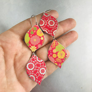 Mixed Pink Patterns Upcycled Tin Earrings