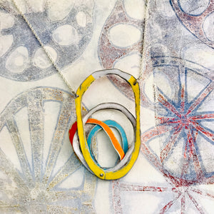Reversible Scribbles Upcycled Tin Necklace