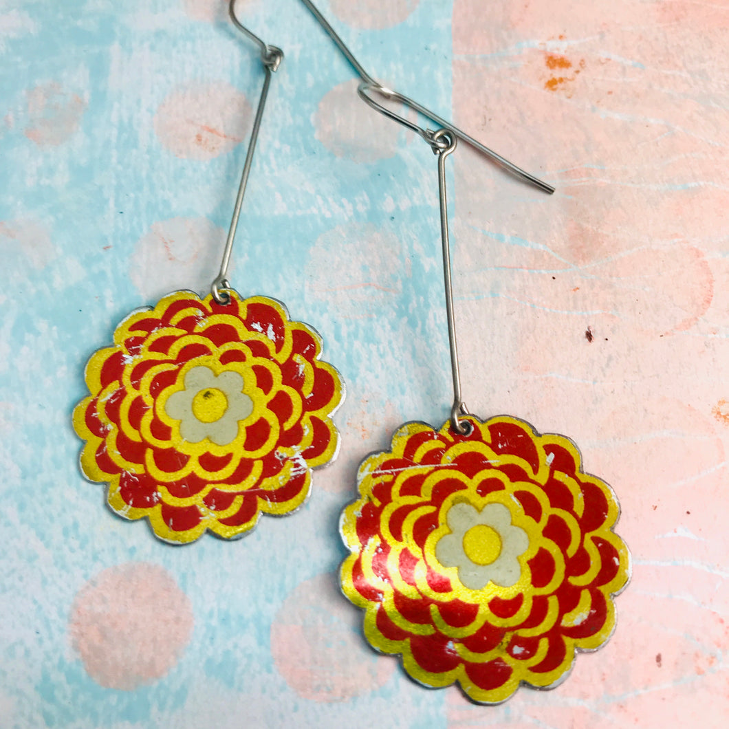 Vintage Red Mums Recycled Tin Earrings