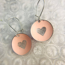 Load image into Gallery viewer, Etched Silver Heart on Soft Pink Tiny Dot Tin Earrings