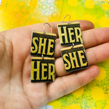 Load image into Gallery viewer, Vintage Butter Her She Recycled Tin Earrings