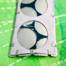 Load image into Gallery viewer, Encircled Weathered White Over Blueberry Upcycled Tin Brooch