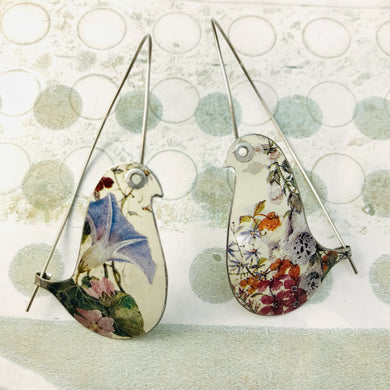 Wildflower Birds on a Wire Upcycled Tin Earrings
