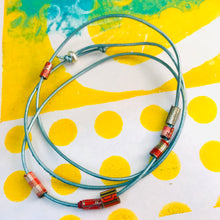 Load image into Gallery viewer, Aqua Tiny Tin Beaded Leather Cord Necklace or Bracelet