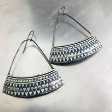 Load image into Gallery viewer, Delft Blue Triangle Pattern Wide Arc Zero Waste Tin Earrings