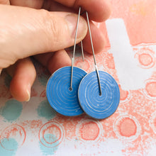 Load image into Gallery viewer, Modern Cornflower Etched Concentric Circle Small Upcycled Tin Earrings