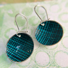 Load image into Gallery viewer, Teal Screening Upcycled Tiny Dot Earrings