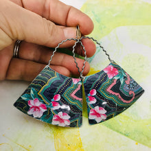 Load image into Gallery viewer, Teal Paisley Zero Waste Tin Earrings