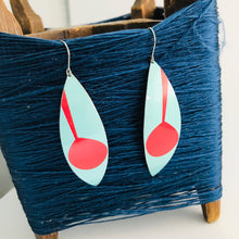 Load image into Gallery viewer, Mod Aqua & Red Leaves Upcycled Tin Earrings
