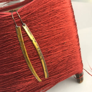 Antiqued Golden Edge Long Narrow Tin Earrings
