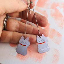 Load image into Gallery viewer, Little Lucky Cats Upcycled Tin Earrings