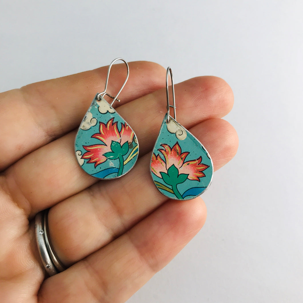 Vintage Aqua Pink Flowers Upcycled Small Teardrop Tin Earrings