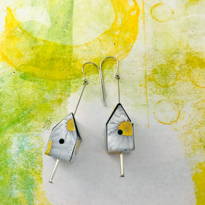 White Daisies Tiny Tin Birdhouse Earrings